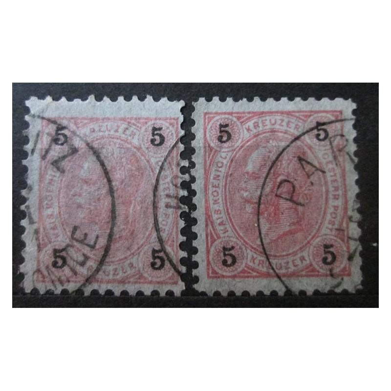 Rakouská známka 5 Heller odstín