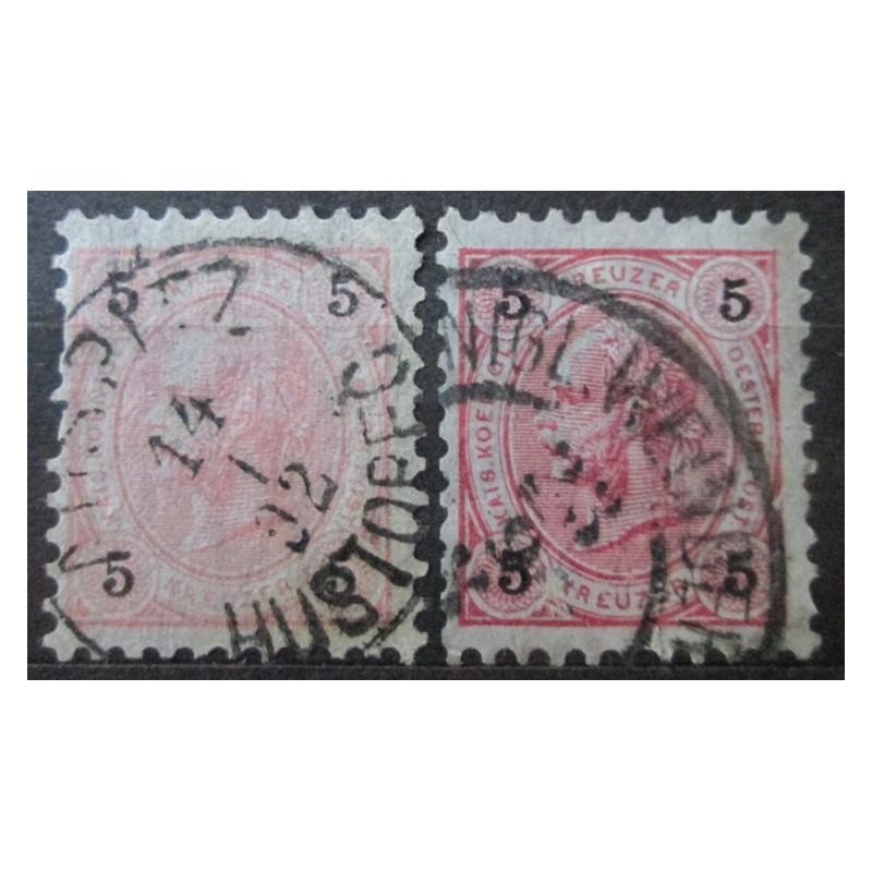 Rakouská známka 5 Heller papír